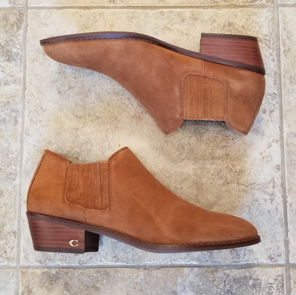 NWT COACH TAN LEATHER SUEDE NEW ANKLE BOOT…